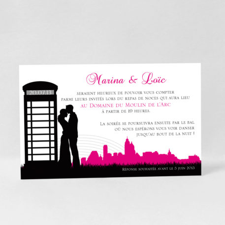 Carte d'invitation Love in London LM10-ROM-14C