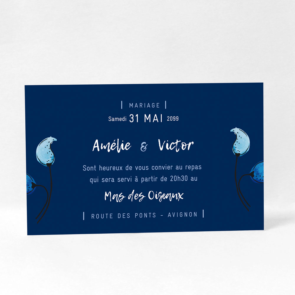 "Carte d'invitation ""Something blue"" LM10-NAT-106"